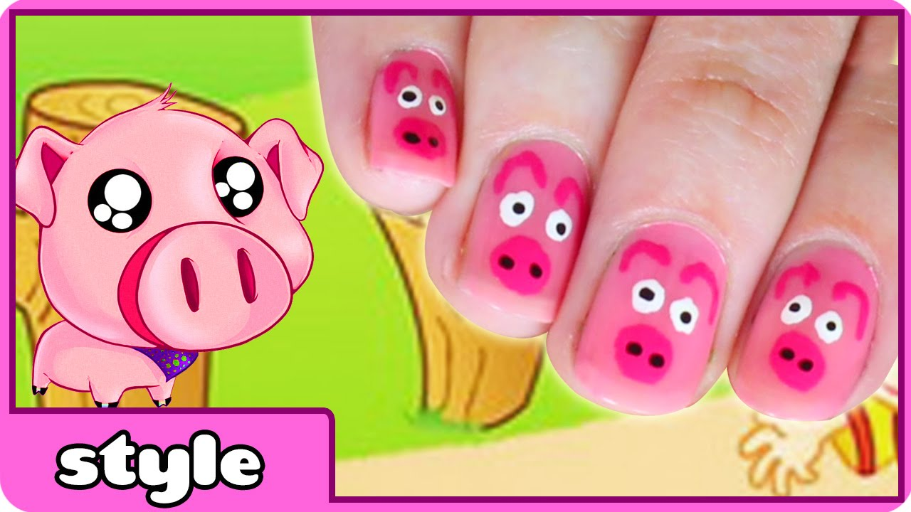 Cute Three Little Pigs Nail Art Tutorial for Kids - YouTube