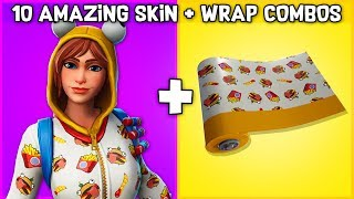10 AMAZING SKIN + WRAP COMBOS in Fortnite! (Weapon wrap combos)