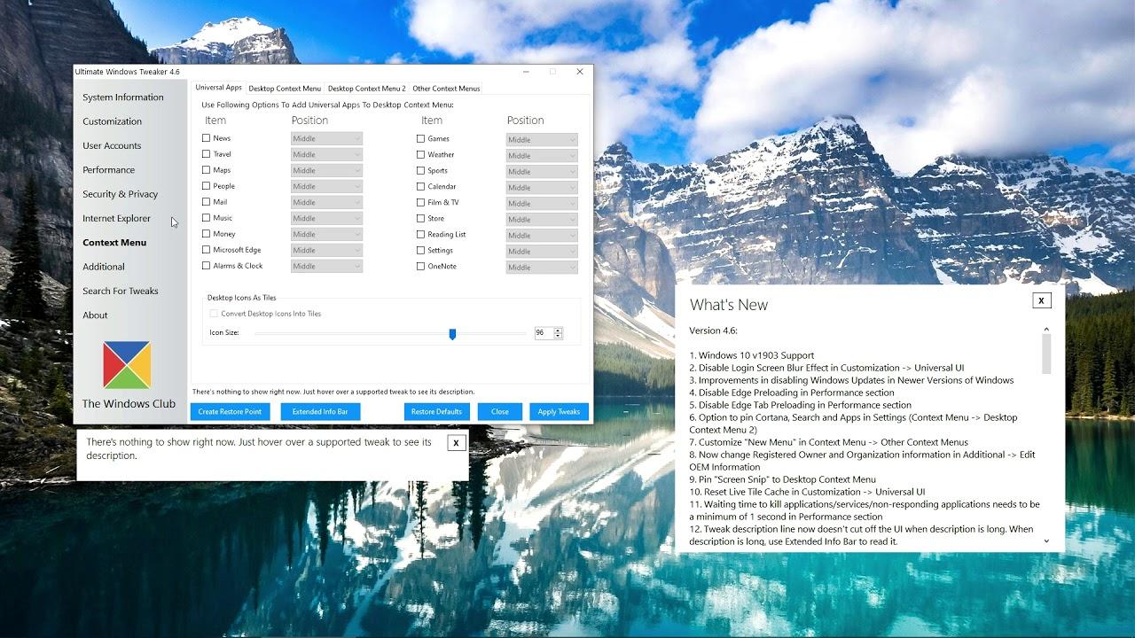 Ultimate Windows Tweaker 4 6 released with Windows 10 v1903