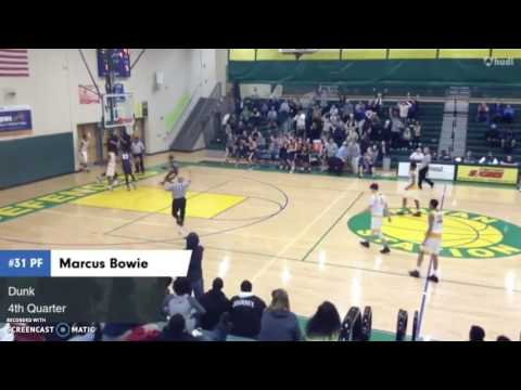 MARCUS BOWIE (SON OF FORMER NBA STAR SAM BOWIE) GETS A AND-1 DUNK IN A HIGH SCHOOL GAME