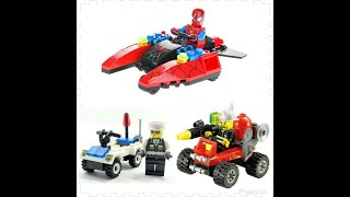 Spiderman, building blocks, Crane Monster Truck, police car and fire truck. Fun! Fun! Fun!