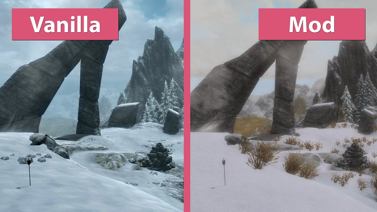 Skyrim Special Edition – First Visual Mod Overhaul vs  Vanilla Graphics  Comparison
