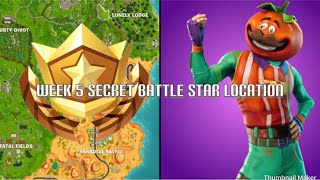 """Fortnite week 5 """"search between a Giant rock man, a crowded Tomato and an Encircled Tree!"""""""