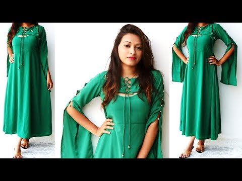 DIY Designer Dress With Stylish Sleeves Pattern Full Tutorial