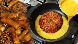 치즈계란볶음밥에 짜장라볶이를.. 시네마먹방 Cheese Egg Fried Rice & Black Bean Tteokbokki ENG Cinema Mukbang DoNam