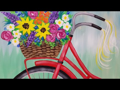 Bike with Flower Basket Acrylic Painting Tutorial LIVE Spring Floral Beginner Lesson