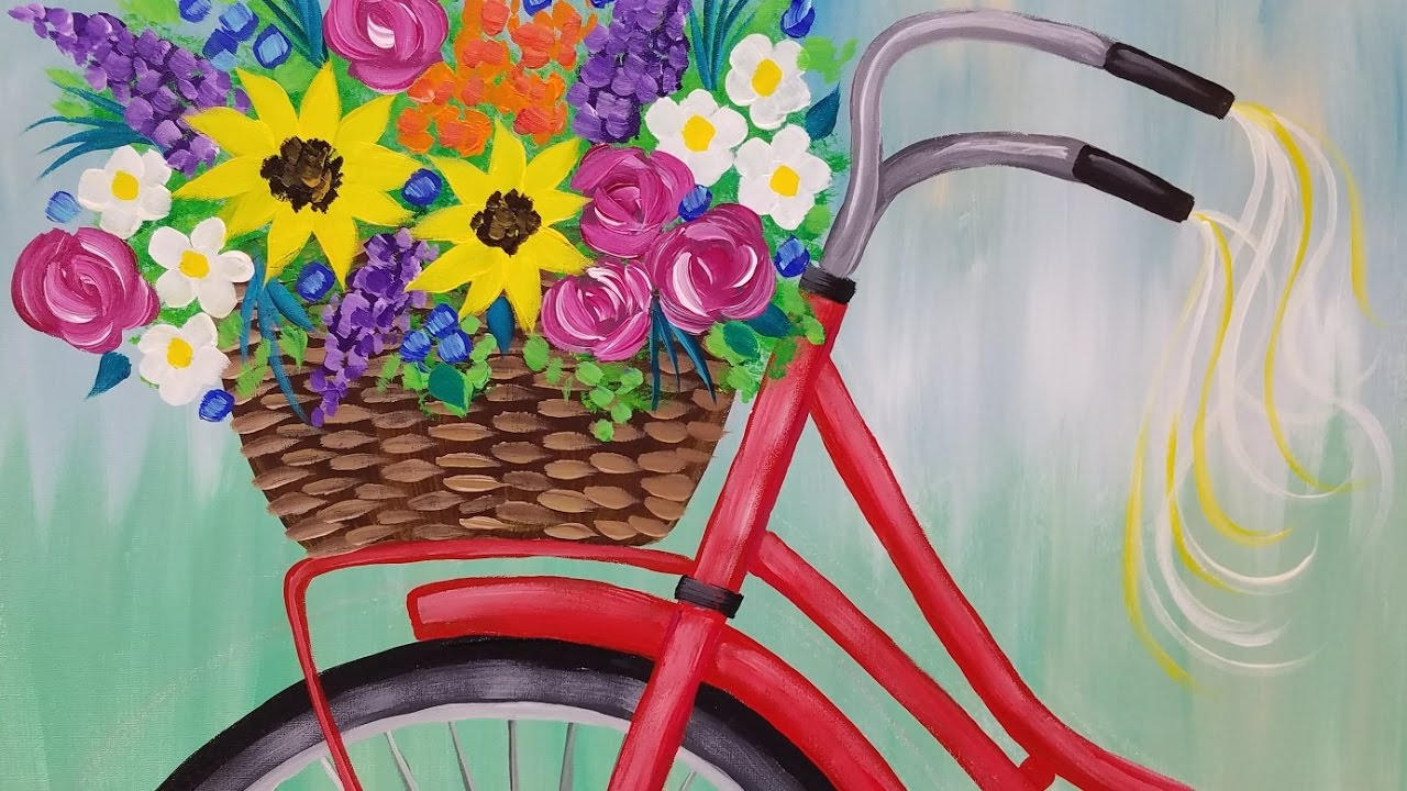 Bike with Flower Basket Acrylic Painting Tutorial LIVE ... Easy Acrylic Flower Paintings On Canvas