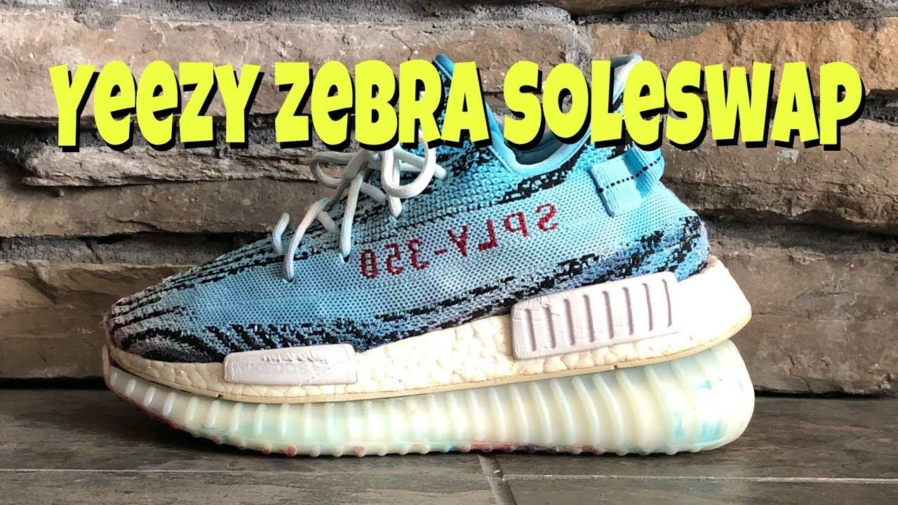 7ea8a8f6b Adidas Yeezy Zebra NMD Boost Hybrid (soleswap) - YouTube
