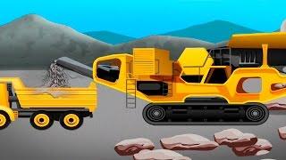 Видео для детей про машинки - Строим дорогу. Мультфильмы про рабочие машины.