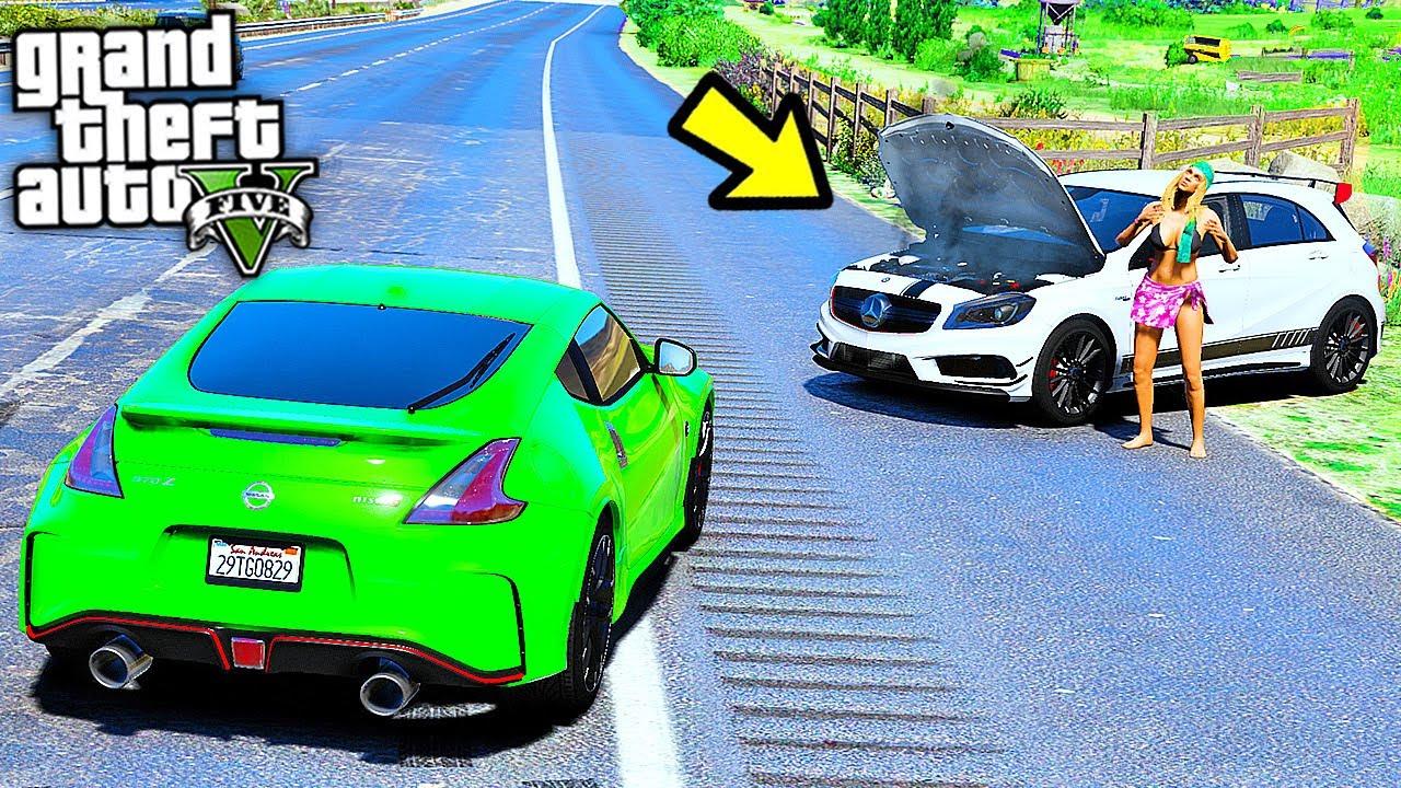 РЕАЛЬНЫЕ ПАЦАНЫ В GTA 5 - ПОМОГ ДЕВУШКЕ НА ДОРОГЕ! Mercedes A45 AMG СЛОМАЛСЯ НА ТРАССЕ! ⚡ ГАРВИН