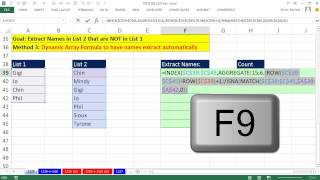 Excel Magic Trick 1226: Compare 2 Lists, Extract Items In List 2 That are NOT in List 1 (6 Examples)
