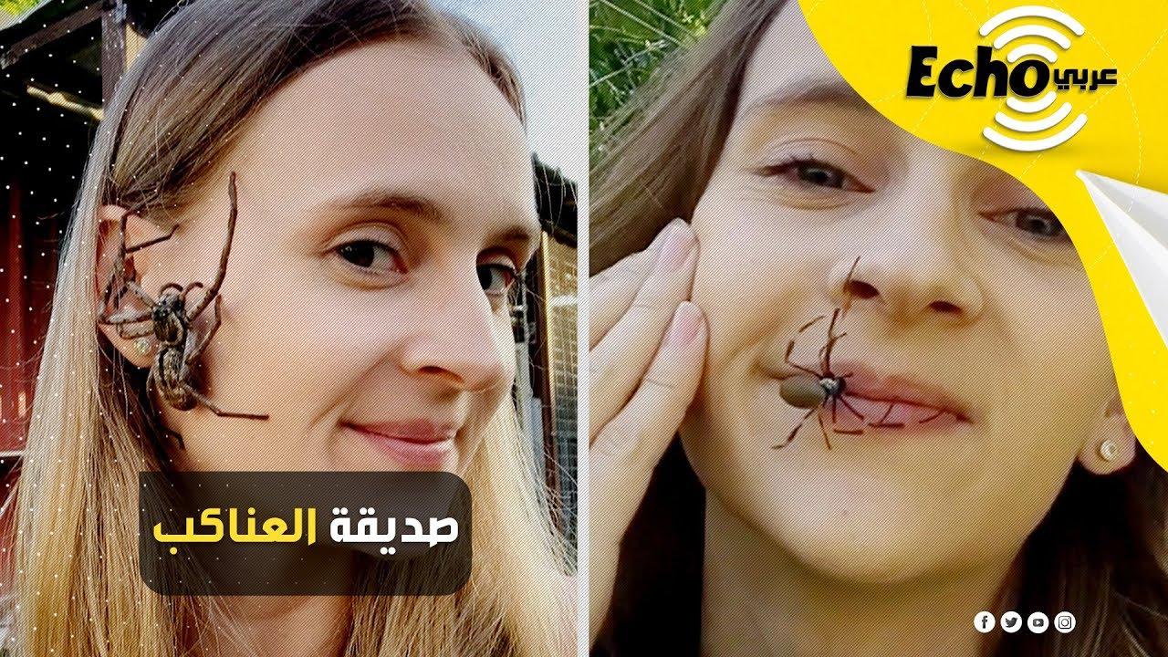 عاشقة الحيوانات.. فتاة تضع العناكب على وجهها لمساعدتها على الاسترخاء