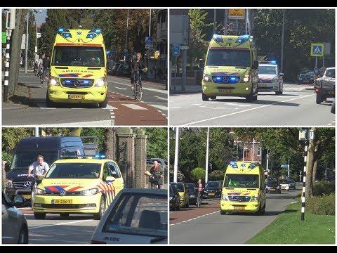 Ambulances , Rapid Responder & Politie met spoed naar verschillende meldingen in Alkmaar