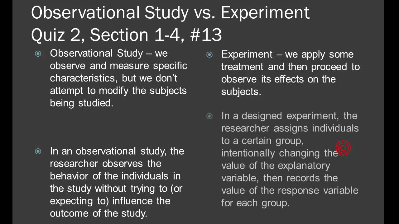 an observation study How regression got its up: regression : second pass previous: regression experimental designs observational studies in order to study the relationships among variables, observational studies are performed unlike controlled experimental designs where only certain variables are allowed to vary (at prespecified levels), in observational studies.