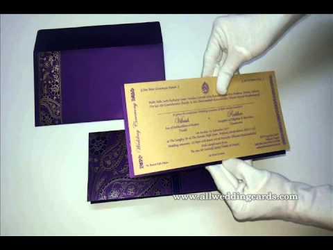 W-4454, Purple Color, Shimmer Paper, Hindu Wedding Designer Cards