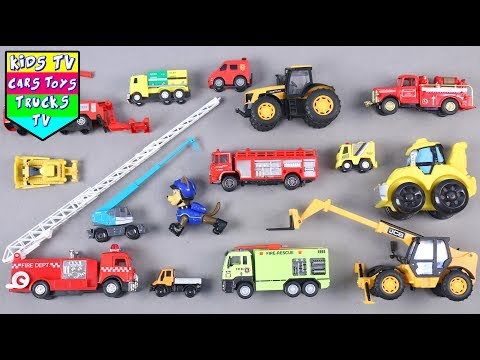 Learn Fire And Construction Vehicles For Kids Children Babies Toddlers   Fire Engine   Excavator
