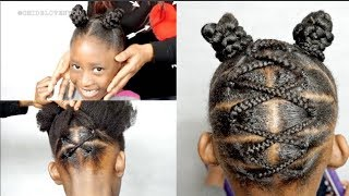 TRY THIS HAIRSTYLE IF YOU CAN'T CORNROW || KIDS PROTECTIVE STYLE