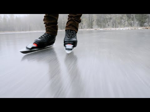 Nordic Ice Skating on the Frozen Lake