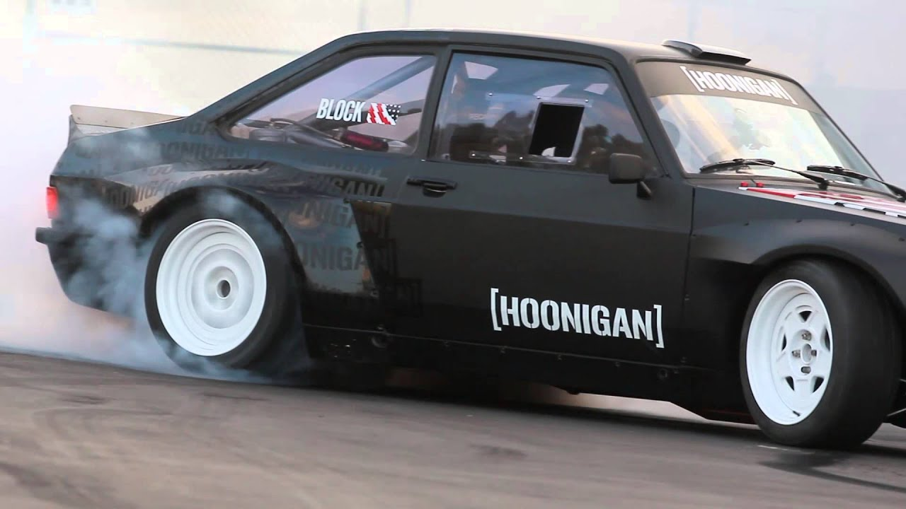Hoonigan Escort >> [HOONIGAN] Ken Block Slays Tires in the Gymkhana Escort at the Donut Garage - YouTube