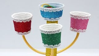 Best out of waste - How to reuse ice cream cups   Reusing waste to make DIY Jewelry Organizer