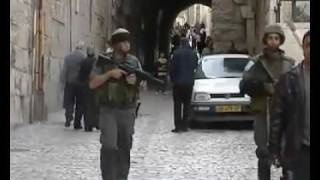 2 Israeli IDF coward soldiers scared away of young brave armles Palestinans just shouting