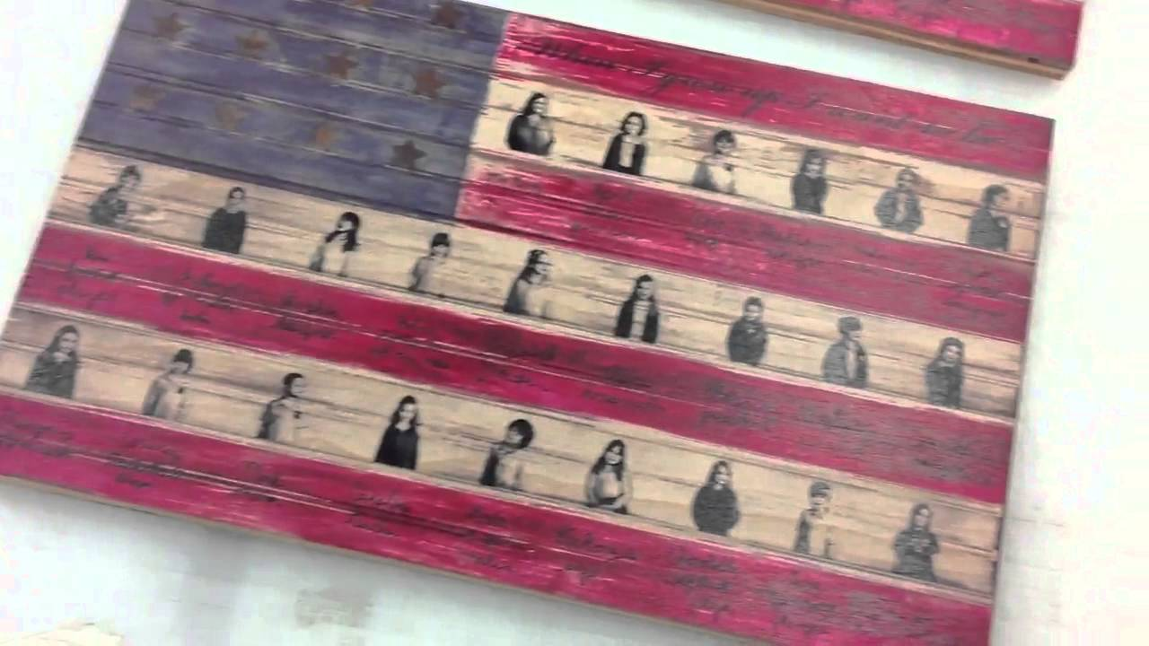 American Flag Art Print On Birch Wood