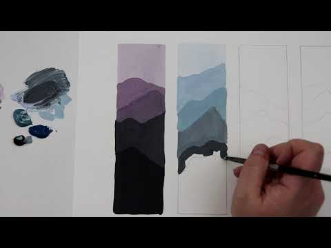 (15) Easy Monochrome Landscape Painting for Beginners / Acrylic Painting Tutorial