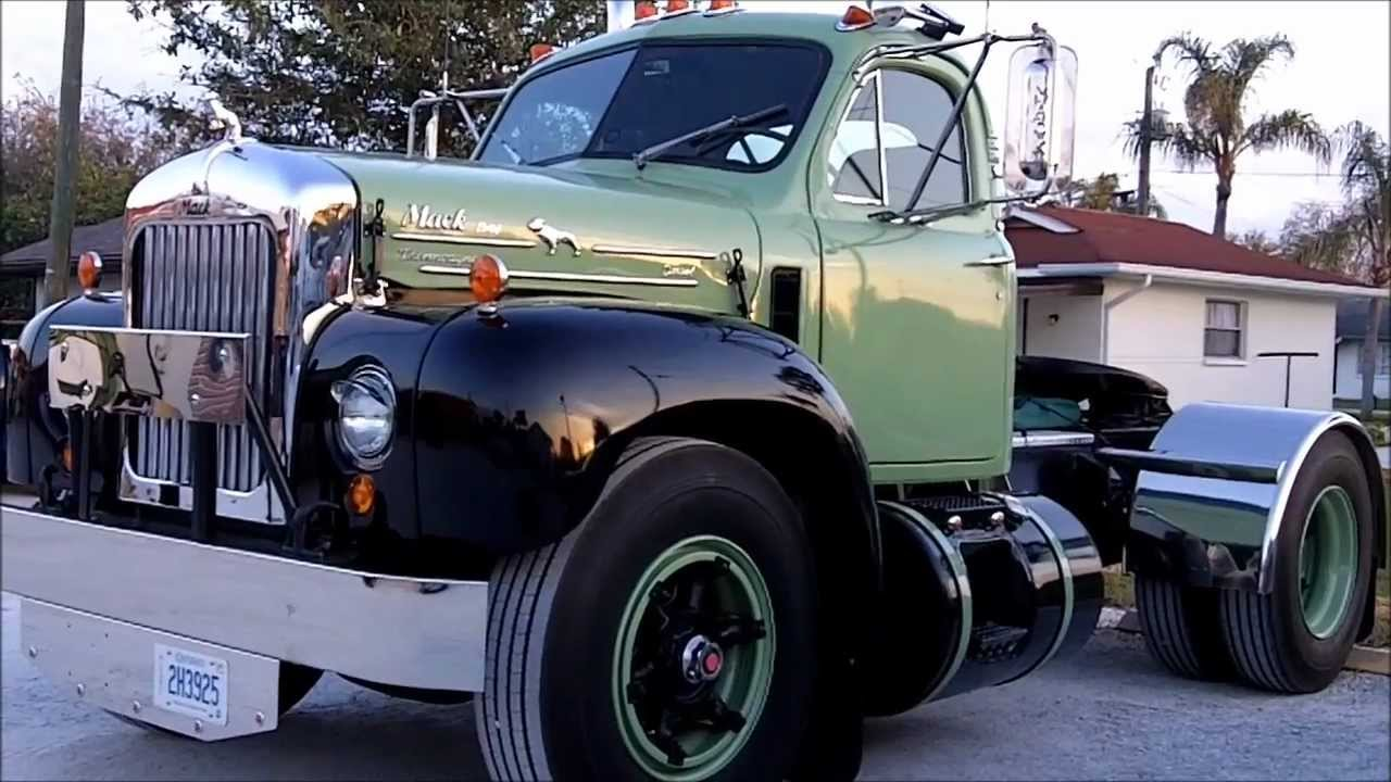 antique lime green mack b61 thermodyne diesel truck [ 1280 x 720 Pixel ]