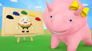 Lerne mit Dino - Lerne Farben mit Humpty Dumpty - Dino dem Dinosaurier 👶 Lehrreiche Cartoon
