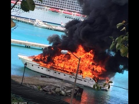 Fire engulfs luxury yacht in British Virgin Islands harbour