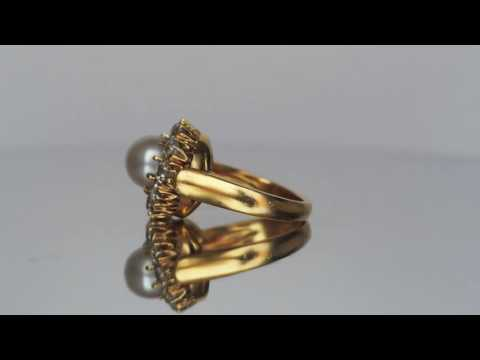 BESPOKE - Re-Done Victorian Diamond & Pearl Ring with Custom Shank - VEG#504
