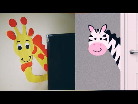 DIY Easy  Animal Wall Decor for Kids room / Giraffe n Zebra Paper Wall Decal