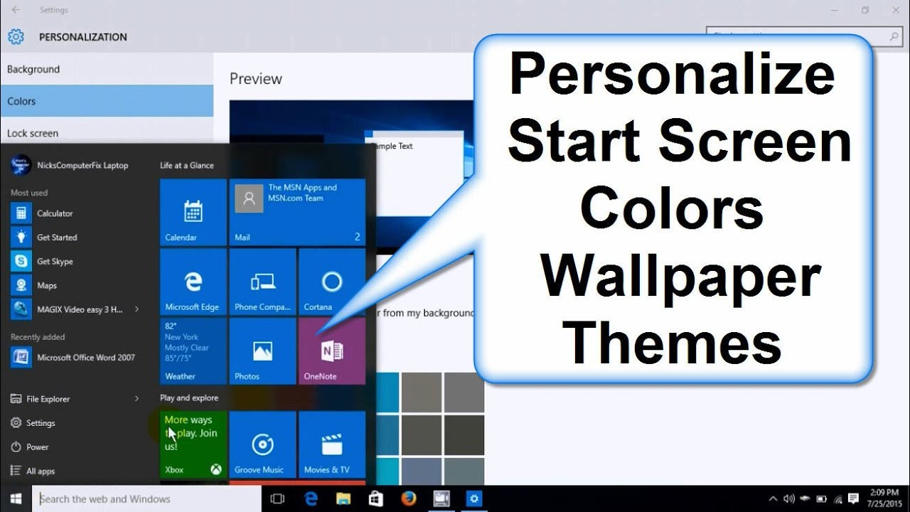 how to change windows 10 start screen colors background