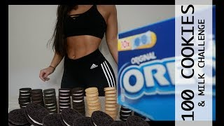 100 Oreo Cookie & Milk Challenge Girl Vs Food