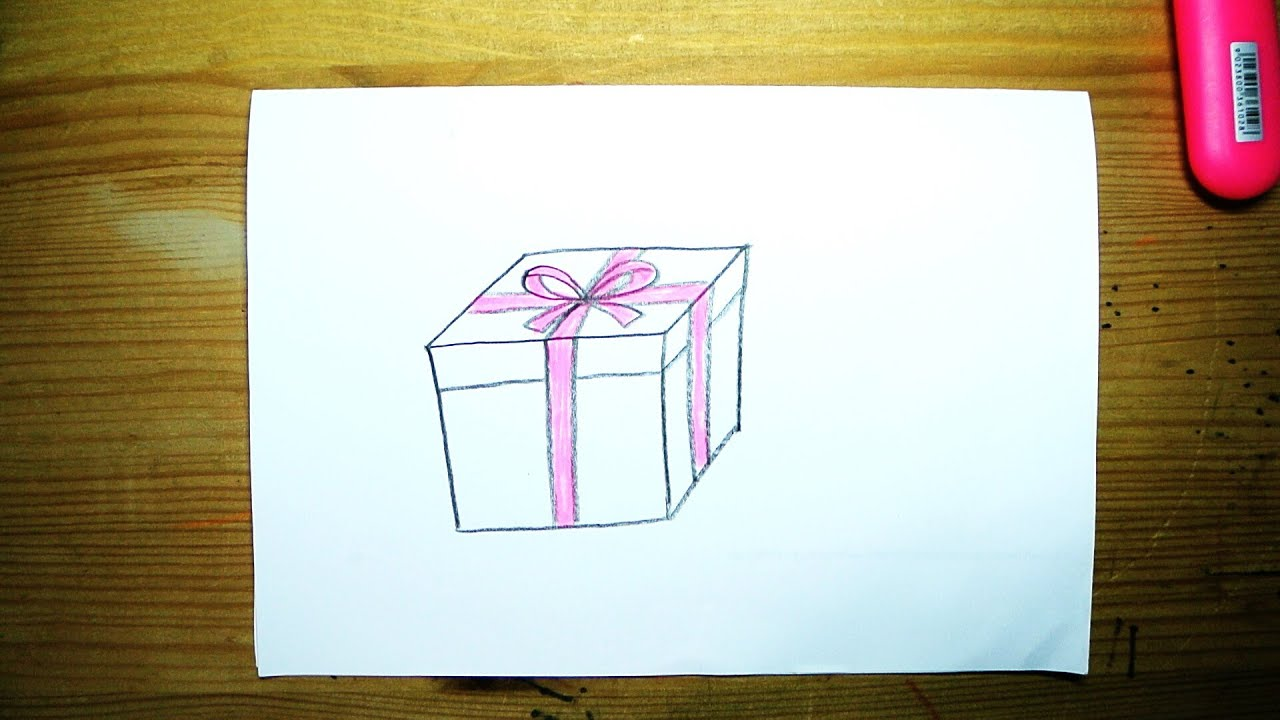 How to draw a gift box for kids youtube negle Image collections