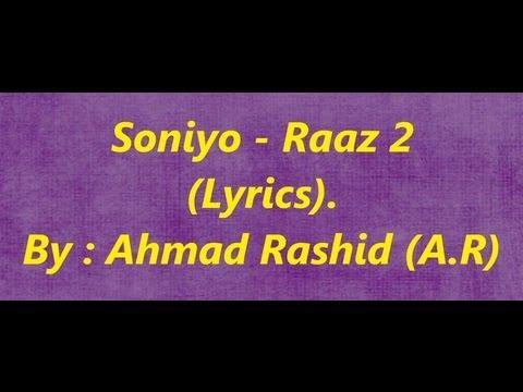 Soniyo | Raaz 2 | Lyrics