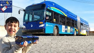 Johny Opens A NEW MTA Articulated Bus Toy  And Rides An NYC MTA Bus
