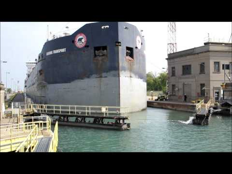 Cargo ship time-lapse passing through Welland Canal HD