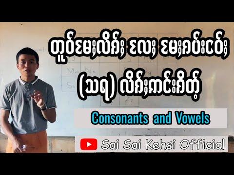 002 Consonants and Vowels တူဝ်မႄႈလိၵ်ႈလႄႈမႄႈၵပ်းငဝ်ႈဢင်းၵိတ်ႉ