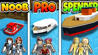 Roblox NOOB vs PRO vs ROBUX SPENDER FAMILY YACHT HOUSE BUILD CHALLENGE in BLOXBURG