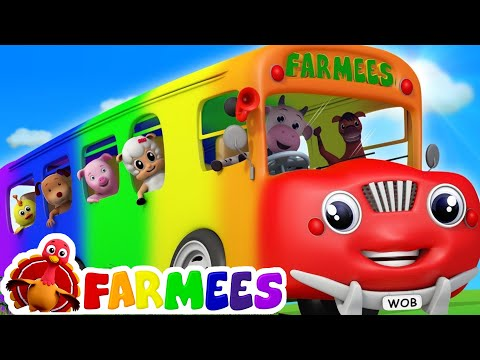 Wheels On The Bus Songs For Childrens 3D Color Bus For Kids by Farmees S02E198