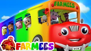 Wheels On The Bus | Songs For Childrens | 3D Color Bus For Kids by Farmees