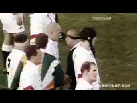 Richard Cockerill stands up to Norm Hewitt Haka in 1997