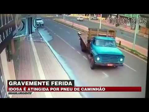 PR: Idosa é gravemente ferida por pneu de caminhão