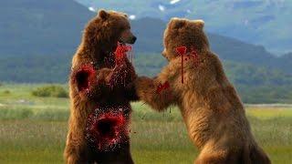 大きな戦いの動物と戦う ライオン、クロコダイル、ゴリラ、クマ、バッフ...