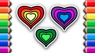 Coloring and drawing hearts with rainbow colors | Awesome coloring pages for kids