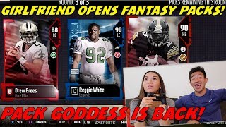 MY GIRLFRIEND OPENS FANTASY PACKS! BREES, REGGIE WHITE, & MORE! Madden 18 Ultimate Team Pack Opening