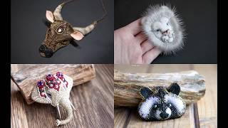 АНОНС Объемные портреты животных на примере броши Енот