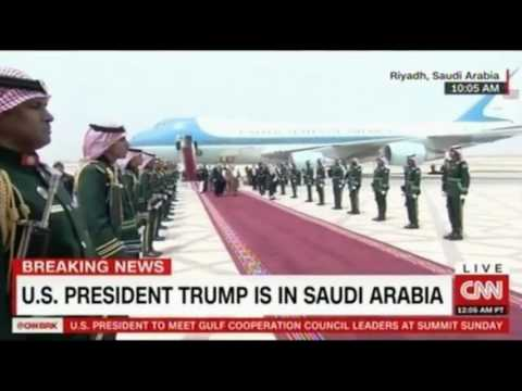President Trump touches down in Saudi Arabia in a rare honor the King met him at the Airport