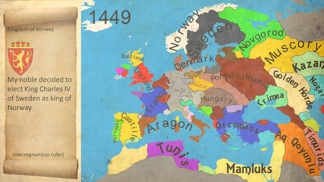 Map History Of Europe End Of The Middle Age 1444 1453 Youtube
